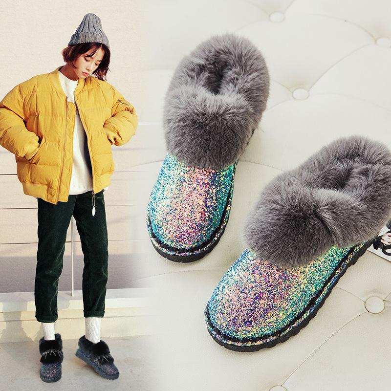 2017 winter new Korean fashion sequins flat Plush flanging boots boots thick warm women  ...