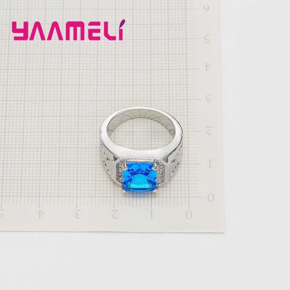 Retro 925 เงินสเตอร์ลิงนิ้วมือ Anel Inlay Clear CZ หินสำหรับ Man ผู้หญิงปาร์ตี้แหวนอุปกรณ์เสริม