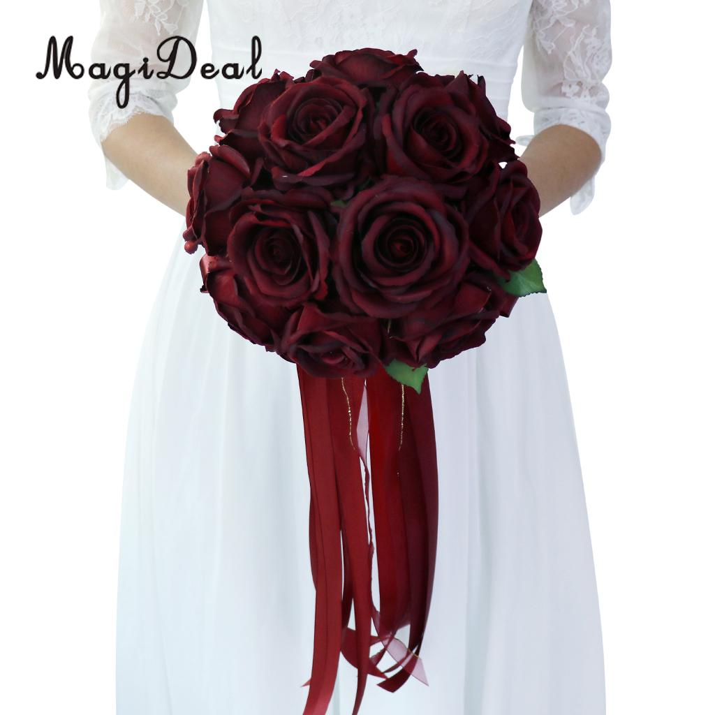MagiDeal Romantic Rose Flower Wedding Bridal Bouquet Hand Holding Flower Wine Red