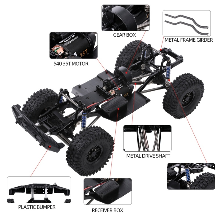 AUSTAR 313mm Wheelbase Chassis Frame for 1/10 AXIAL SCX10 II 90046 90047 RC Crawler Climbing Car DIY-in Parts & Accessories from Toys & Hobbies    2