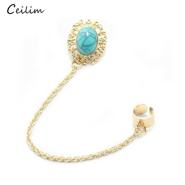 c5e21228c Fashion Green Stone Ear Clip for Women Gold Color Chain Ear Cuff Boho  Earrings Jewelry Tassel