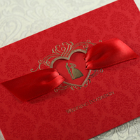 Free Shipping 50pcs Red Wedding Invitation Card Wishmade Convite Casamento Event & Party Supplies CW1041