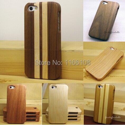 imágenes para Case para iphone 5 5s 5c iphone se 100% natural verde real de madera de bambú de madera duro volver case cáscara del teléfono cubierta de la piel bolsa