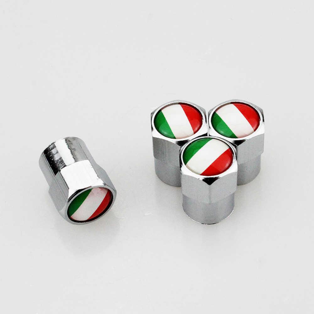 4 قطعة العلم الإيطالي شعار الإطارات اكسسوارات الغبار واقية عجلة صمام قبعات يغطي لشركة فيات 500 Abarth 500x 5000L الباندا ألفا روميو