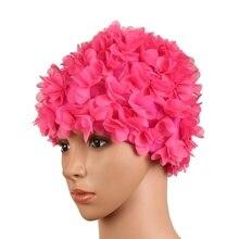 Для женщин Цветной цветы Плавание ming Кепки s трехмерный цветок лепестки дизайн для ванны женский Кепки дамы Плавание Кепки для длинных волос