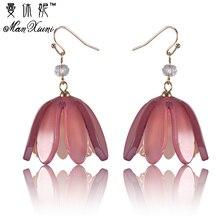 Manxiuni Acrylic Flowers Earrings Brincos CZ Beads Piercing Bijuterias Pendientes Aretes For Personality Women