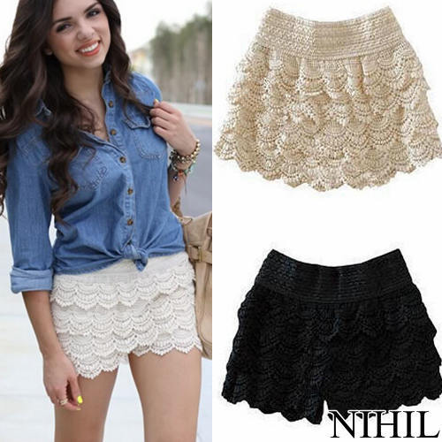Fashion White & Black Full Lace Shorts New 2016 Women Shorts Women ...