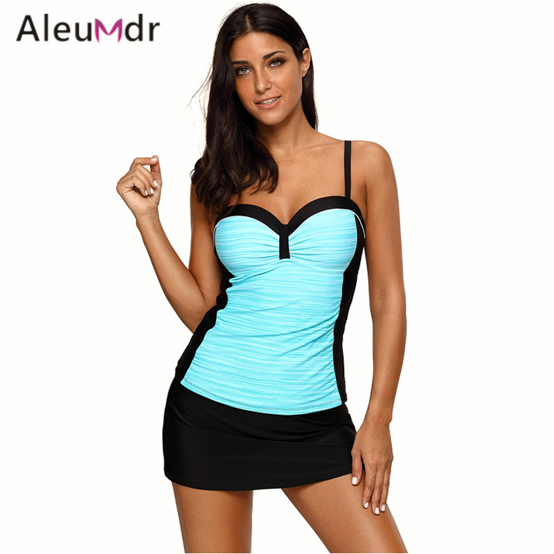 Aleumdr High Quality Swimming Suit For Women 2017 Tankini And Skirted Swimsuit Two Piece LC410459 Maillot De Bain Femme