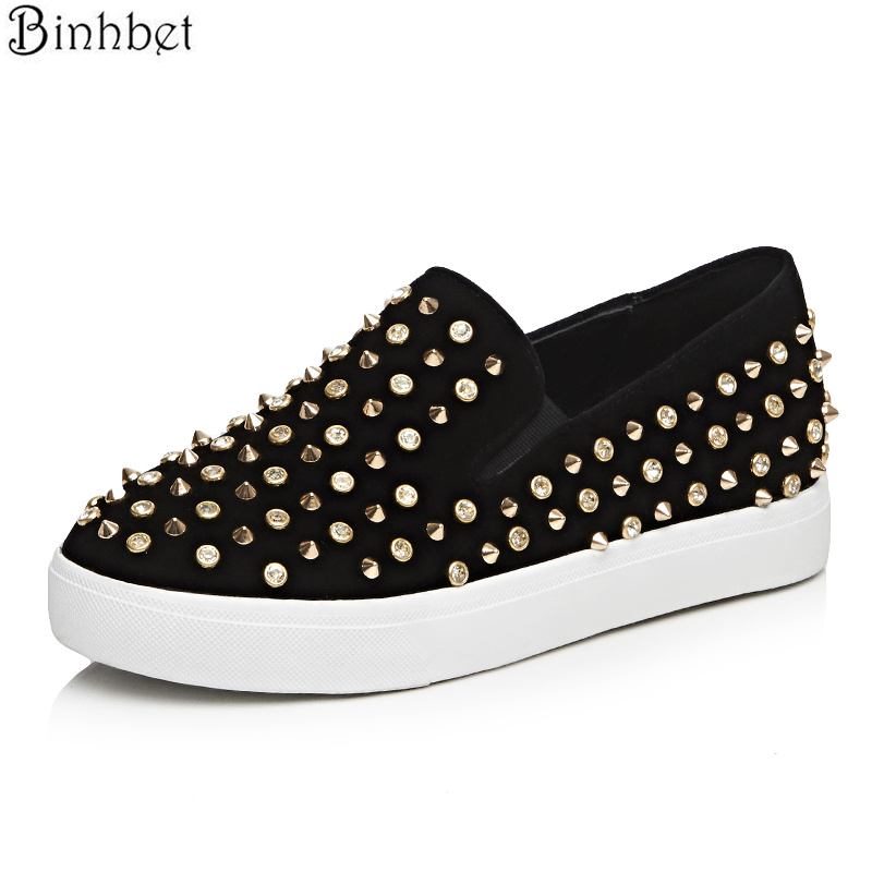 Binhbet Lofters Flat Shoes 2018 Fashion Pointed Toe Rivet Slip On Flats For Women Platform Spring Autumn Casual Shoes Flats Exquisite In Workmanship