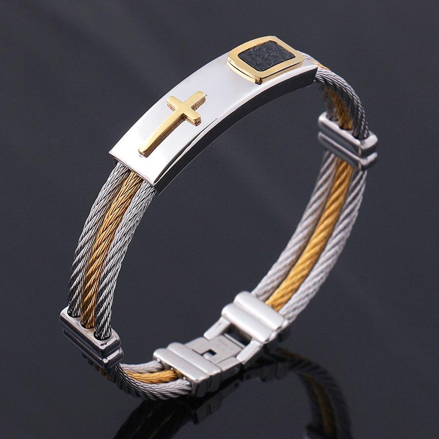Mens Bracelet 3 Rows Wire Chain Bangles Punk Rock Mens Christian Cross Bracelet Stainless Steel Mens Jewelry Bracelet