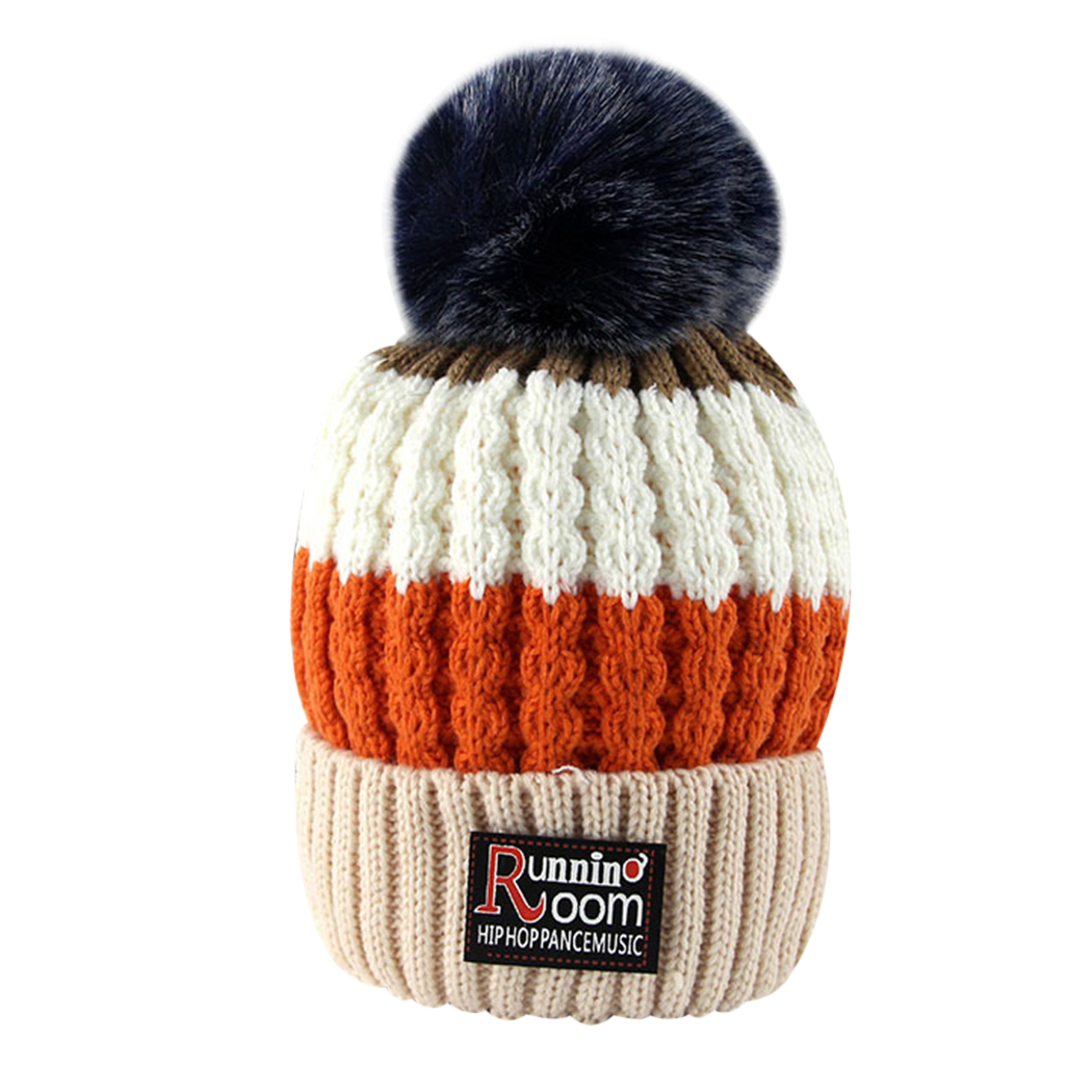 Winter Hat For Kids Knit Beanie Winter Baby Hat For Children Fur Pom Pom Hats For Girls Boys Warm Muts Cap 1-5years