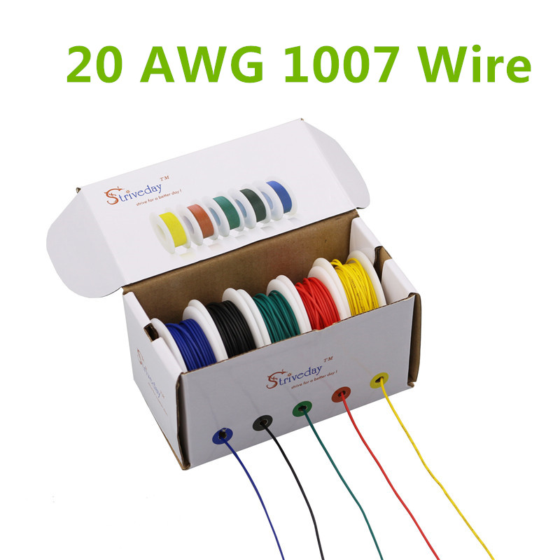 30m UL 1007 20AWG 5 color Mix box 1 box 2 package Electrical Wire Cable Line Airline Copper PCB Wire 50m ul 1007 26awg 5 color mix box 1 box 2 package electrical wire cable line airline copper pcb wire
