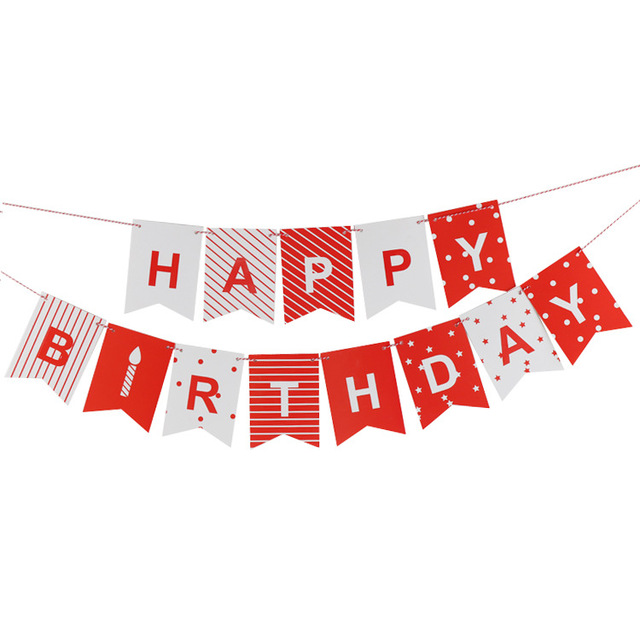 White Red Happy Birthday Letter Banner Paper Bunting Baby Shower