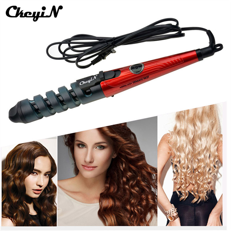 110-240V Magic Hair Curlers Roller Electric Curl Ceramic Spiral Hair Curling Iron Wand Salon Hair Styling Tools Styler EU Plug
