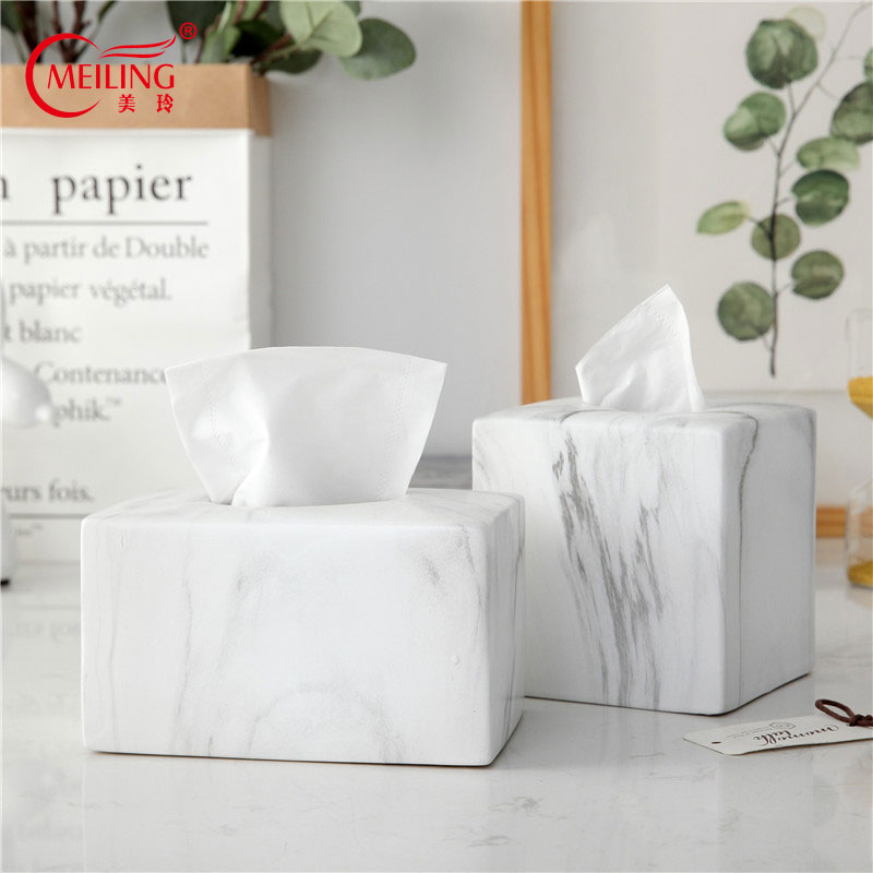 Us 59 9 Nordic Home Decor Marble Tissue Box Cover Ceramic Kleenex Holder For Dining Table Living Room Accessories Bath Accent In