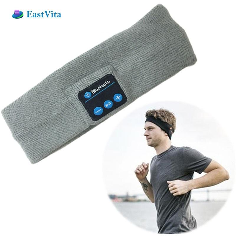 EastVita Bluetooth Knit Headband Sweatband Wireless Headphone Headset Speaker Exercise Grey White S03