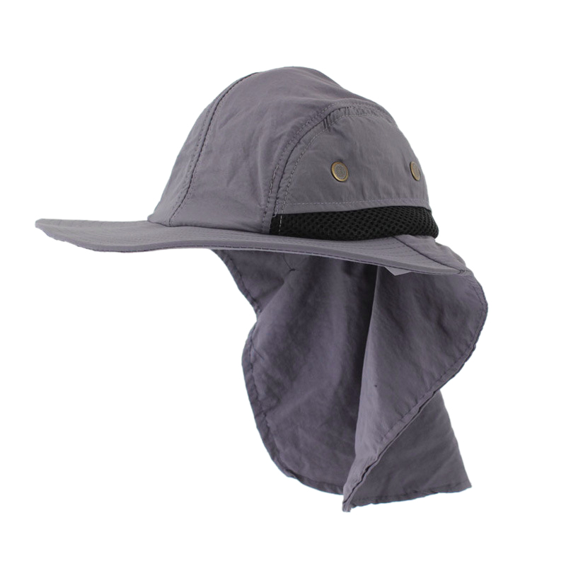 Outdoor Fishing Hiking Boonie Snap Hat Brim Ear Neck Cover Sun Flap Cap