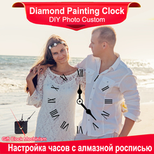 Fezrgea Photo Custom Wall Clock Diamond Embroidery 5D Painting Full Round Drill Wedding Gift For Home Decoration