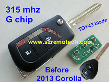 Free Shipping Flip Folding Remote Key 2 Button With G Chip 315Mhz TOY43 Blade Fit For Toyota RAV4 Corolla Before 2013 Year