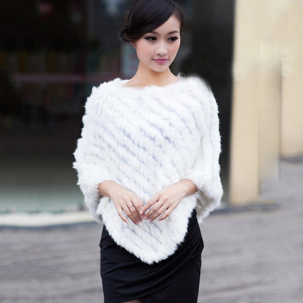 Herbst Winter Damen echte 100% echte gestrickte Kaninchenfell Poncho - Bekleidungszubehör - Foto 3