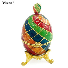 2016 Easter Colorful   faberge egg bejeweled jewelry crystal trinket box on Stand set with enamel and Crystals   For decoraction цены онлайн
