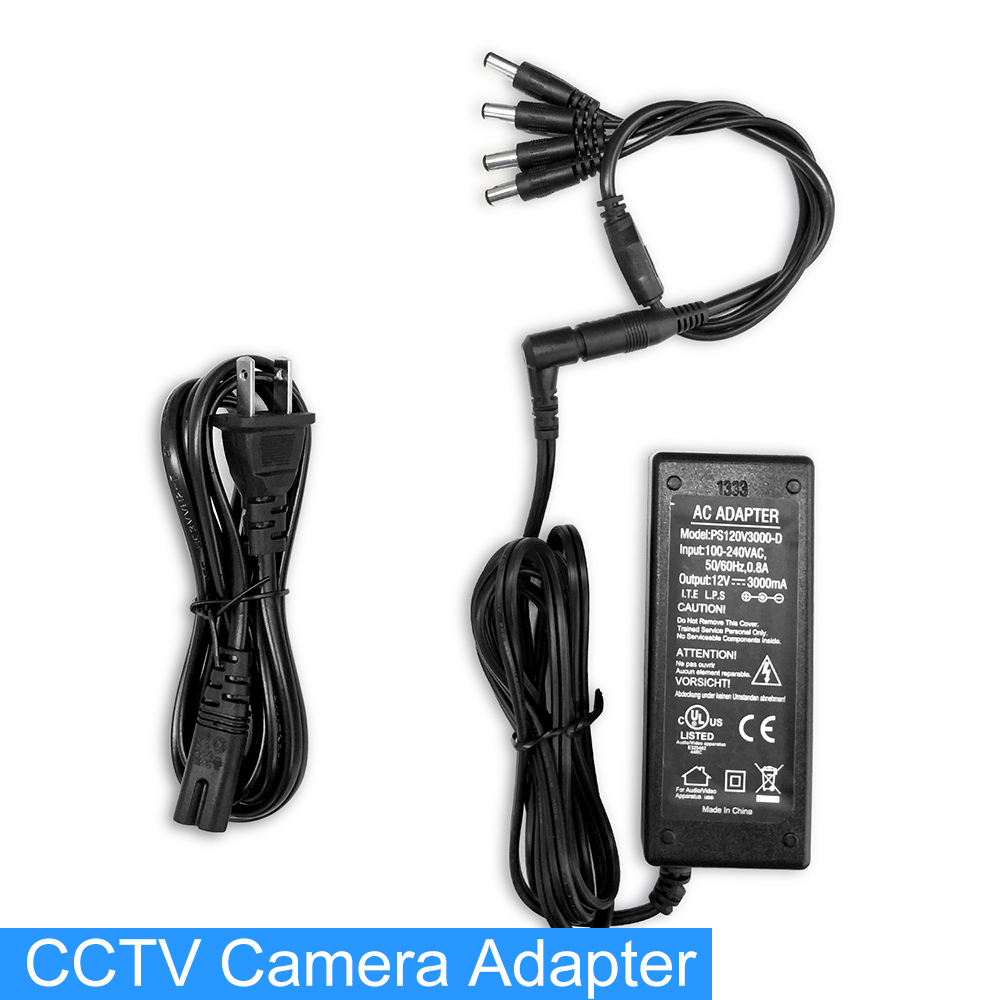 1 Split 4 US plug CCTV Camera Power Supply Cable 12V 3A Power Adapter for Security System High Quality for 4 IP Cameras