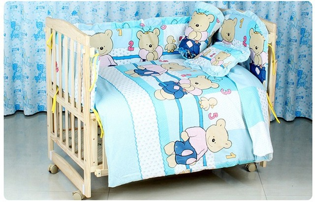 Promotion! 10PCS Baby Bad Set 100% cotton baby bedclothes Cartoon crib bedding set (bumper+matress+pillow+duvet)