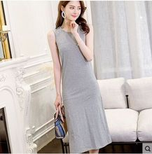 2018 summer women's sleeveless grey o-neck straigh streetwear one piece dress female casual dresses