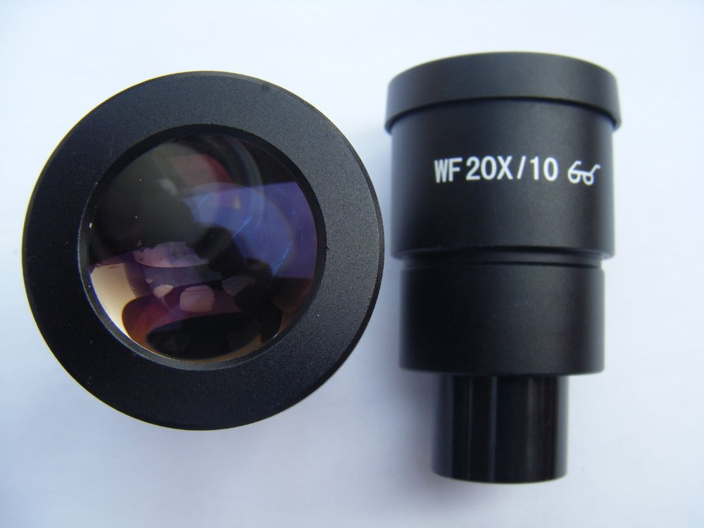 ФОТО 2 PCS WF20X 10mm Wide Field High Eye Point Eyepiece Lens for Stereo Microscope