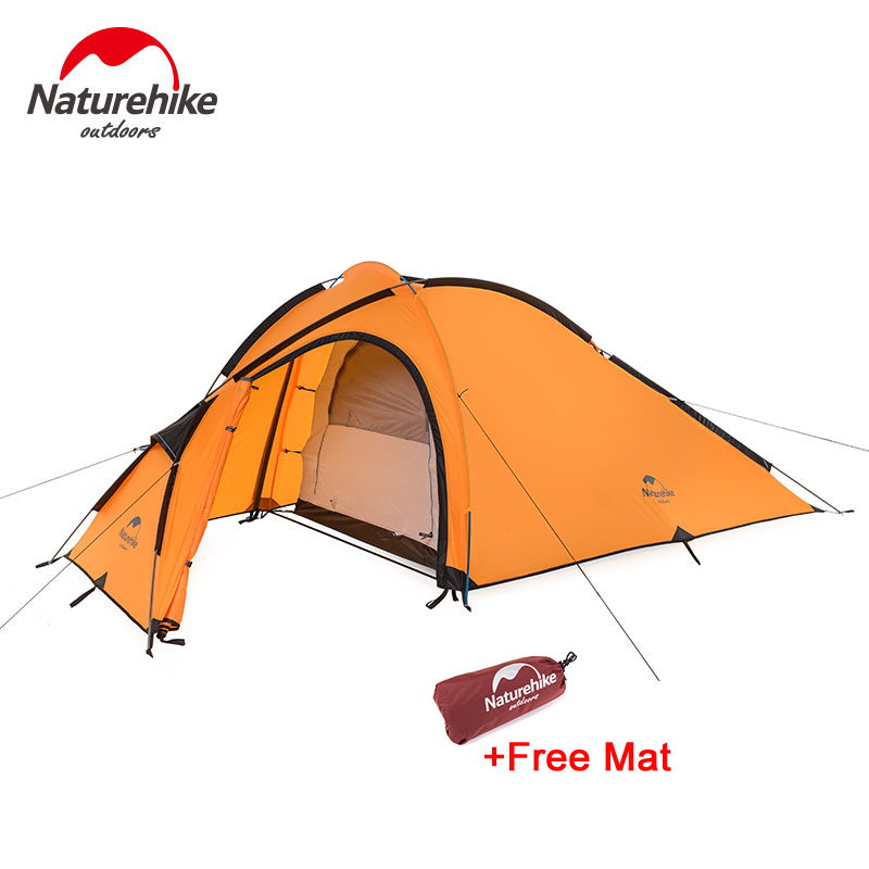 Naturehike Hiby Family Tent 20D Silicone Fabric Waterproof Double-Layer 2 Person 3 Season camping tent one room one hall naturehike 3 person camping tent 20d 210t fabric waterproof double layer one bedroom 3 season aluminum rod outdoor camp tent