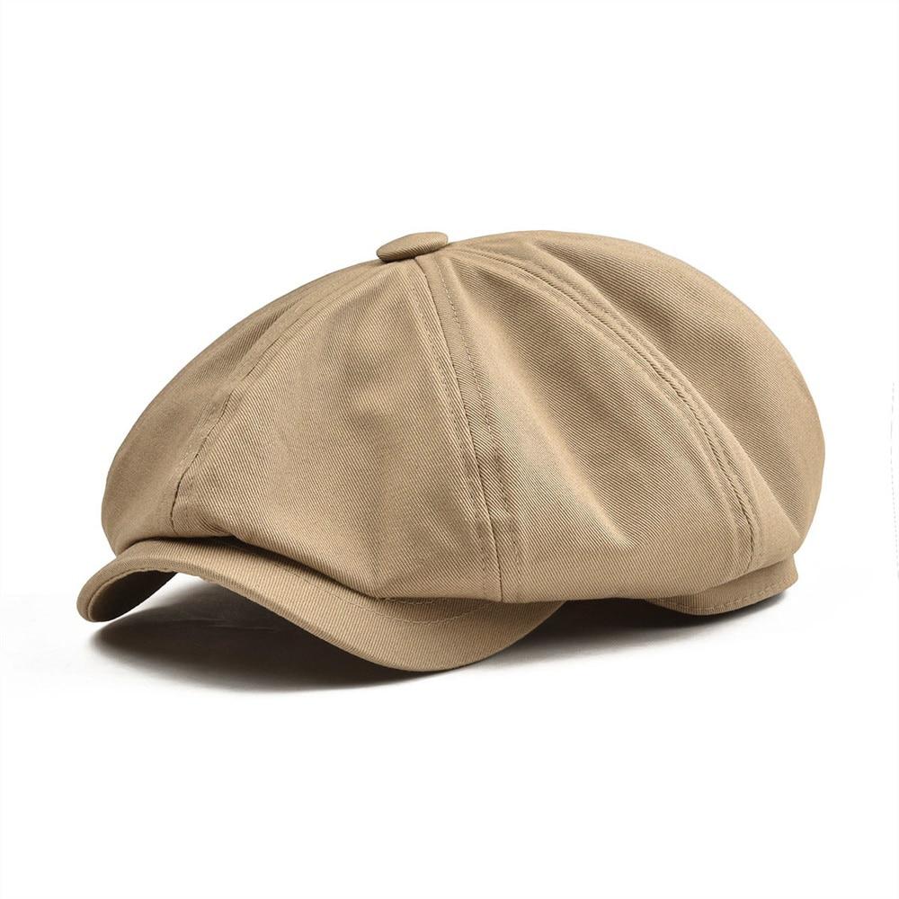 BOTVELA grande Newsboy Cap hombres sarga algodón ocho Panel sombrero de Baker Boy gorras caqui Retro sombreros masculino Boina 003