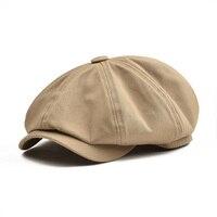 Boina boina boina 003 boina boina boina masculina grande boné de algodão de sarja de botvela grande algodão oito painel chapéu feminino