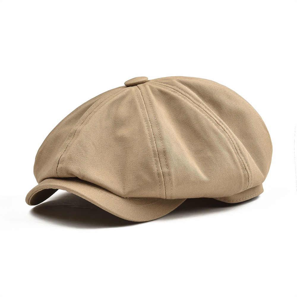Gorra grande para hombre, de algodón, de sarga, de ocho paneles, para mujer, gorras para niño, gorras Retro de color caqui boina macho 003