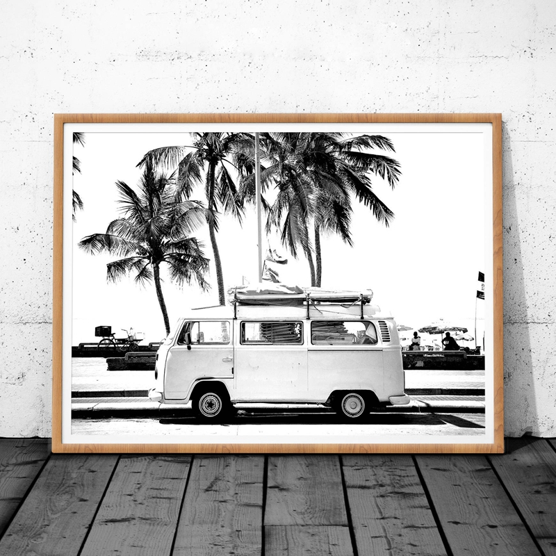 Vintage Coastal Photography Print Retro Van VW Camper And Black Palm Tree Canvas Poster Wall Picture Coastal Art Decor
