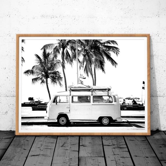 Vintage Coastal Photography Print Retro Van VW Camper And Black Palm Tree Canvas Poster Wall Picture Coastal Art Decor