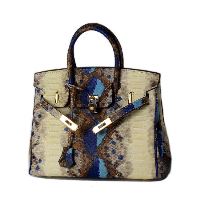 c04f9e269417b حقيقي جلد طبيعي حقائب مع قفل التمساح جلد الثعبان حقيبة يد الأزياء العلامة  التجارية مصمم حقائب
