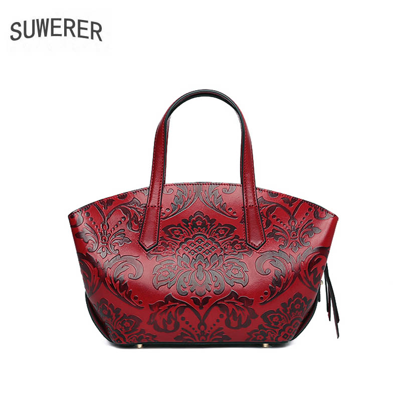 SUWERER  2019 New women leather handbags Superior cowhide Genuine Leather women bags Women famous brand Luxury embossed bag