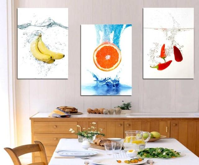 3 Pannelli di Alta Qualità Acqua Frutta Poster Da Parete Per Cucina ...