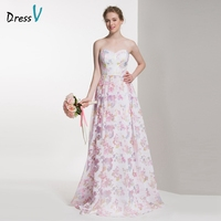 DressV Sweetheart Printing Bridesmaid Dress 2016 A Line Sleeveless Zipper Up Wedding Party Dress Long Printed