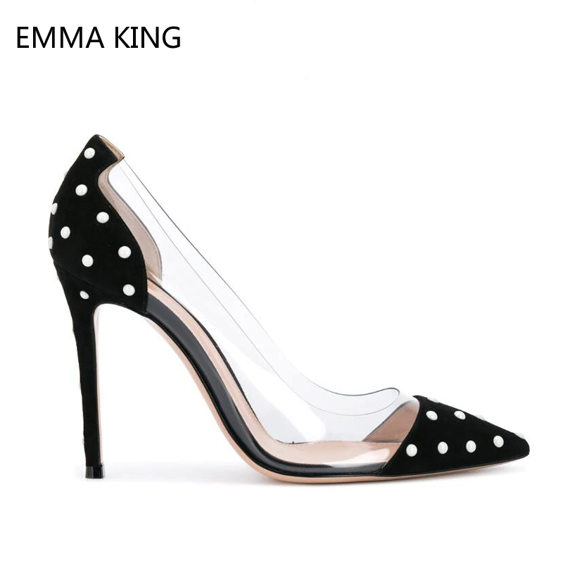 New Black Flock Polka Dot Pumps Shoes For Women Spring Autumn Sexy Thin Heels Clear PVC Pointed Toe Female Wedding ShoesNew Black Flock Polka Dot Pumps Shoes For Women Spring Autumn Sexy Thin Heels Clear PVC Pointed Toe Female Wedding Shoes