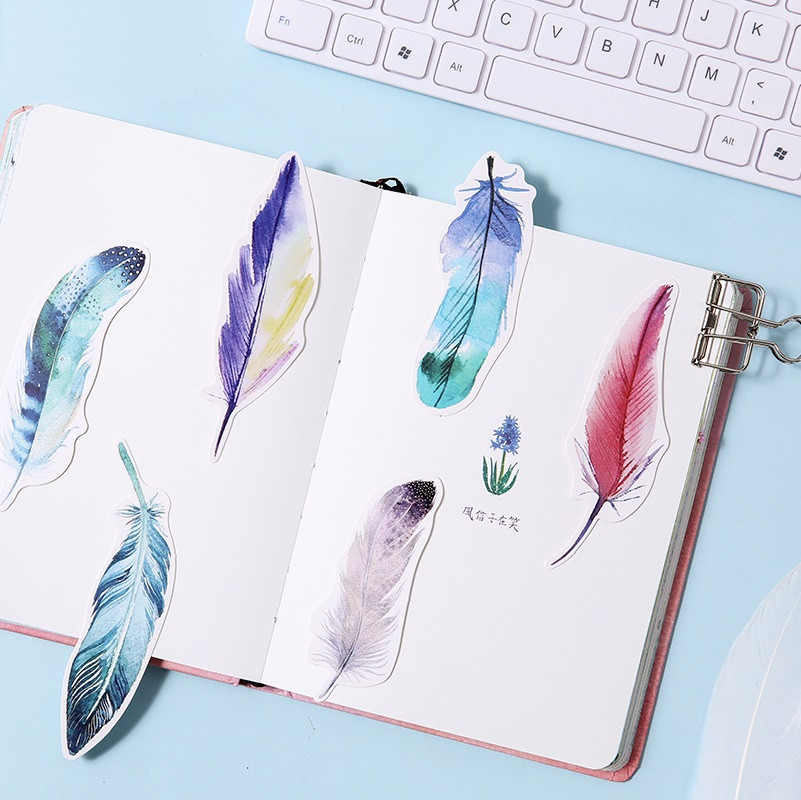 30pcs Dreamlike Feather bookmark post card Mini paper page holder memo note Stationery School supplies marcapaginas FC421 in Bookmark from Office School Supplies