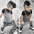 100% Brand New Fashionable 2pcs Toddler Infant Kids Baby Boy Gray Water Slurry Pattern T-shirt Tops+Pants Outfits Set