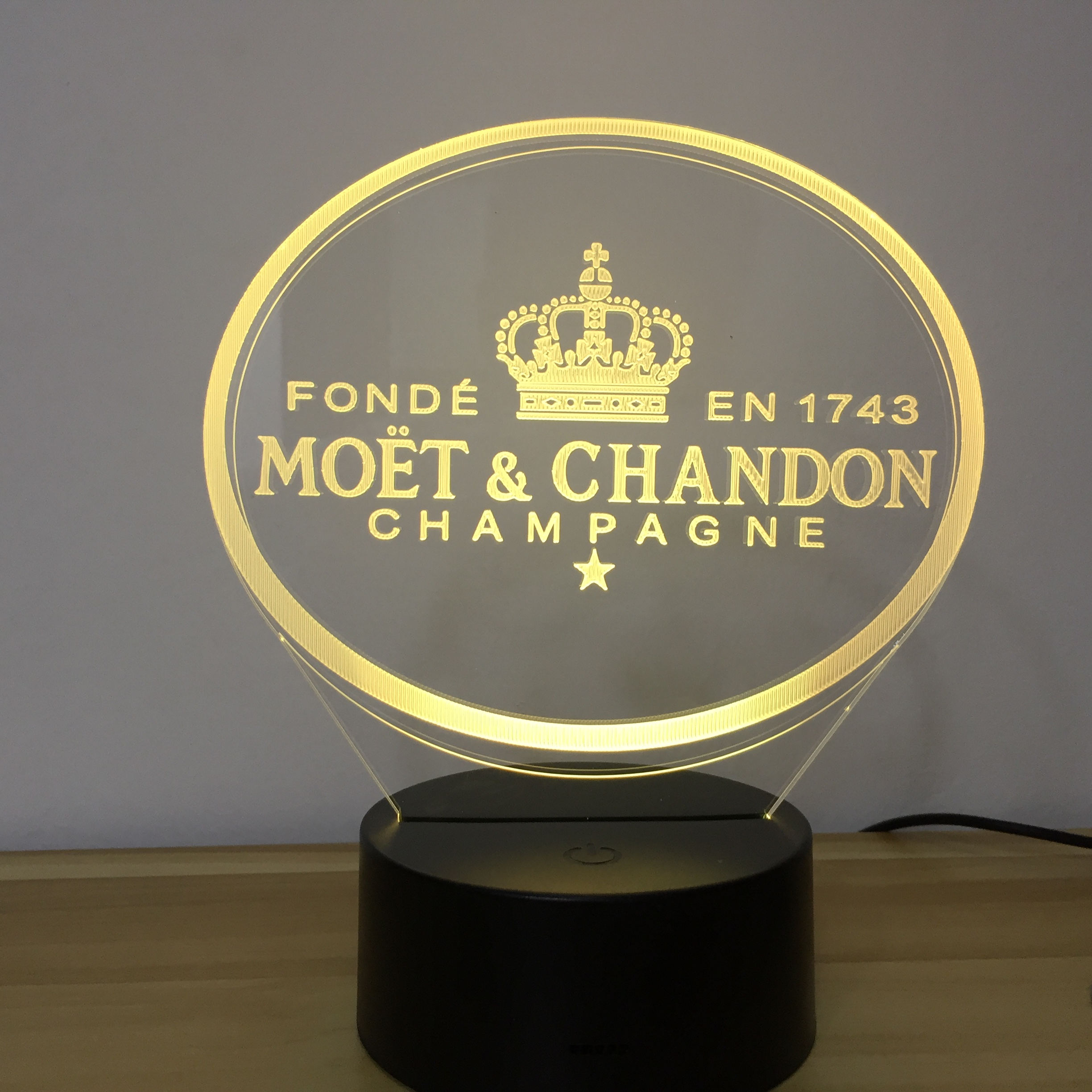 Moet Et Chandon 3D Led Night Light Lamp Gift For Clients Friend Baby Nightlight Usb Or Battery Powered Office Decorative Lamp