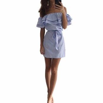 Summer Dress Female Striped Off Shoulder Elastic Slash Neck Mini Dresses