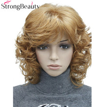 StrongBeauty Medium Length Curly Wigs Synthetic Womens Hair Blonde/Black/ Burgundy Many Colors For Choose