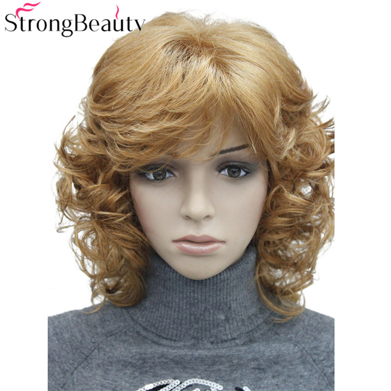 StrongBeauty Medium Short Curly Wigs Synthetic Women 's Hair Blonde/Black/ Burgundy Many Colors For Choose