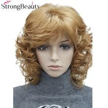 StrongBeauty בינוני קצר מתולתל פאות סינטטי נשים של שיער בלונדינית/שחור/בורגונדי רבים צבעים עבור לבחור