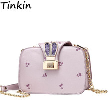 Tinkin Cute Cherry Bag Small Fashion Women Bag High Quality Rabbit Ears Shoulder Bag Party Time Messenger Bag