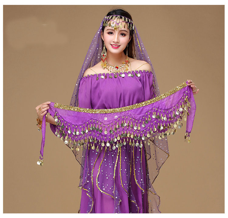 Belly Dance Hips Scarf Women's Belly Dance Costume Chain Waist Belly 150 Coins Waist Chain Hip Scarf Coin Belt Dancing Costume