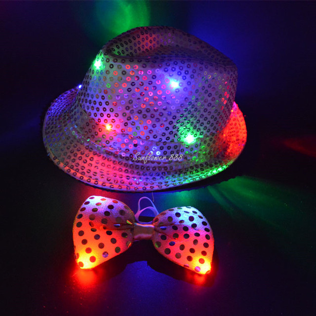 Women Man Kids LED Sequins Jazz Hat Light Flashing Trilby Hats Cap Tie Glow  Rave Party Christmas Navidad Wedding Decoration 05d296a17a75